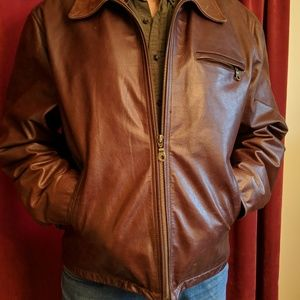 WILSONS brown MEN'S Large leather bomber jacket